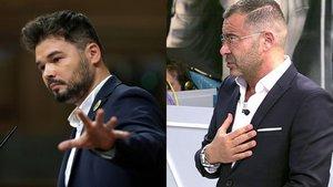 Gabriel Rufián cita a Jorge Javier Vázquez en el Congreso y él responde irónico en 'Sálvame'