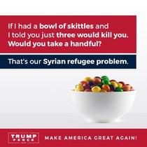 Imagen del polémico tuit del hijo de Donald Trump comparando los skittles con los refugiados.