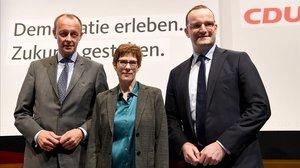 De izquerda a aderecha Friedrich Merz, Annegret Kramp-Karrenbauer y Jens Spahn.