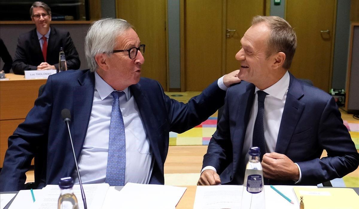 Jean-Claude Juncker y Donald Tusk.