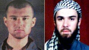 John Walker Lindh tras ser capturado en Afganistán. La imagen de la derecha es del 6 de febrero del 2002 y la de la izquierda de cinco días después.