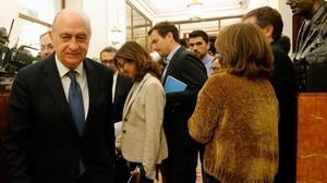 Jorge Fernández Díaz, en los pasillos del Congreso, este martes.
