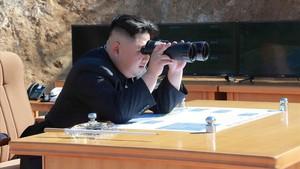 El líder norcoreano Kim Jong-un el pasado mes de julio durante el lanzamiento de un misil intercontinental.