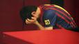 Leo Messi llora tras el partido.