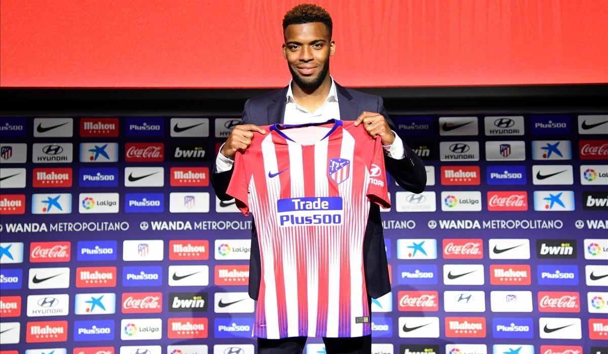 Lemar en su presentación como nuevo jugador del Atlético de Madrid