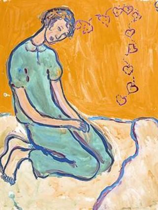 Llegat 8 Foenkinos, a Barcelona. A sota, la pintura de Charlotte Salomon que il·lustra la portada del llibre.