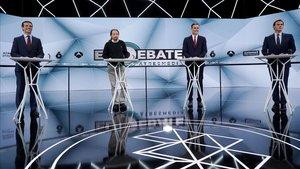 Los candidatos en el segundo debate televisivo, en esta ocasión emitido por Atresmedia.
