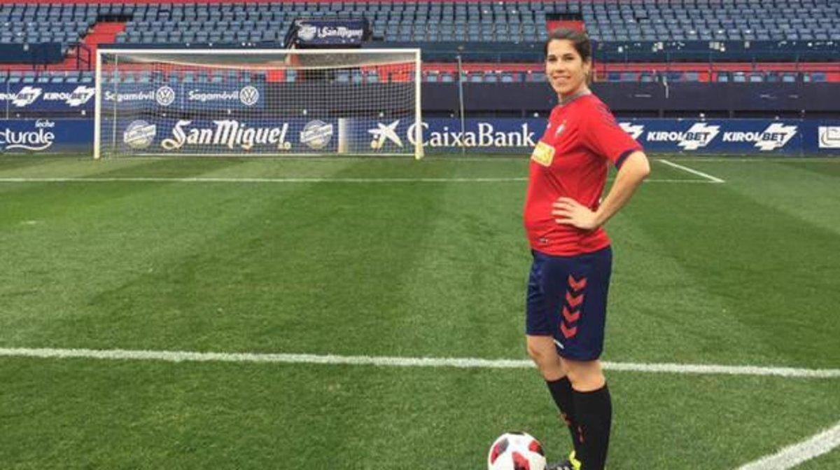 Maider Irisarri, la jugadora embarazada del Osasuna femenino.
