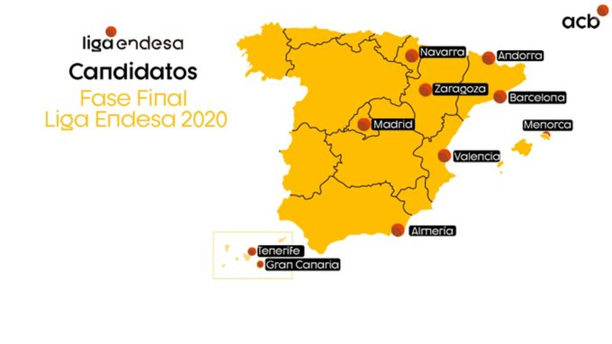 El mapa de ciudades candidatas a acoger la fase final de la Lifa ACB.