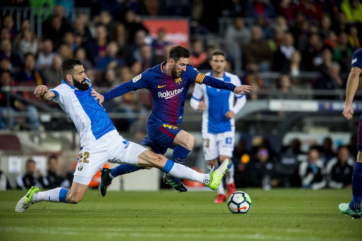 Messi, en acción, en un partido en el que ha conseguido tres goles, los tres del Barça.