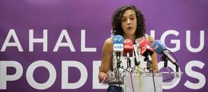 La secretaria general de Podemos Euskadi,Nagua Alba, interviene en la rueda de prensa en la que ha anunciado que no se presentaráa la reelección para el cargo en las primarias.