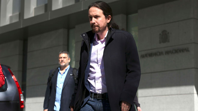 Pablo Iglesias declara enla Audiencia Nacional como perjudicado por el 'caso Villarejo'.