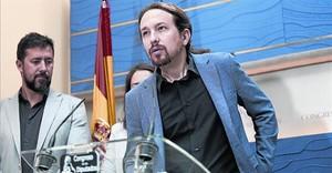 Pablo Iglesias en una rueda de prensa en el Congreso de los Diputados.