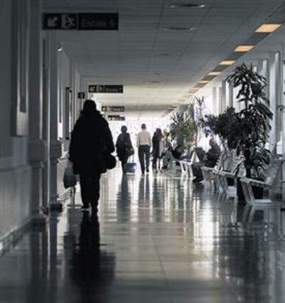 Un pasillo del Hospital Clínic de Barcelona.
