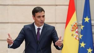 Pedro Sánchez, durante la rueda de prensa en el Palacio del Elíseo, este sábado.