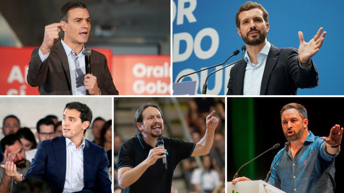 Pedro Sánchez, Pablo Casado, Albert Rivera, Pablo Iglesias y Santiago Abascal.