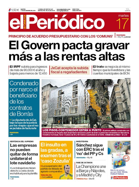 La portada de EL PERIÓDICO del 17 de diciembre del 2019.