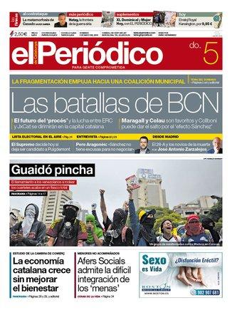 La portada de EL PERIÓDICO del 5 de mayo del 2019