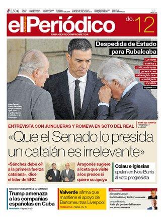 La portada de EL PERIÓDICO del 12 de mayo del 2019