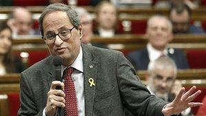 El president Quim Torra, ayer, en el Parlament.