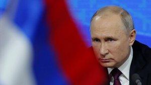 El presidente de Rusia,Vladimir Putin, durante la rueda de prensa.