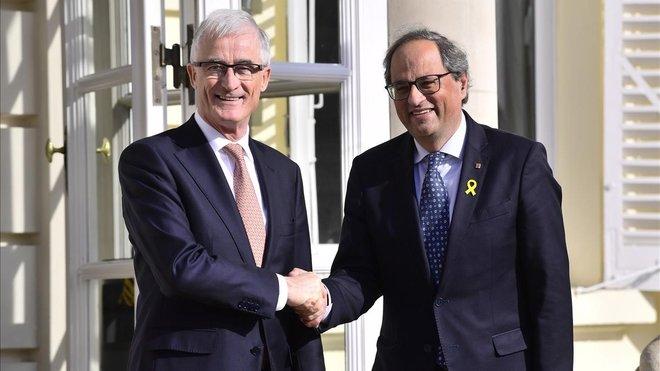 Quim Torra con el presidente de Flandes, Geert Bourgeois, en Bruselas.