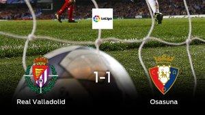 El Real Valladolid y Osasuna se reparten los puntos tras su empate a uno