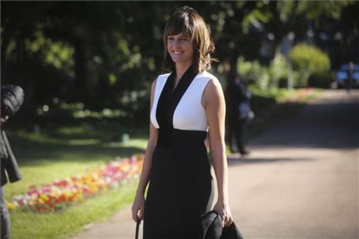 Mónica López, premio Ondas a la mejor presentador, en la recepción del Palacete Albéniz.