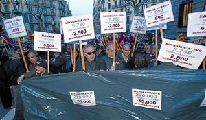 Treballadors de bancaes manifesten, dimecres passat, a Barcelona.