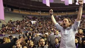 Pablo Iglesias celebra su victoria en Vislategre 2, el pasado febrero.