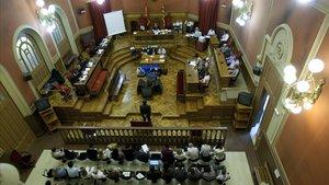 Imagen del juicio por homicidio con jurado popular a Lluís Corominas, yerno de los Tous.