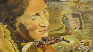 Fragmento del óleo 'Retrato de Gala con dos costillas de cordero en equilibrio sobre su espalda'(1934), de Salvador Dalí.
