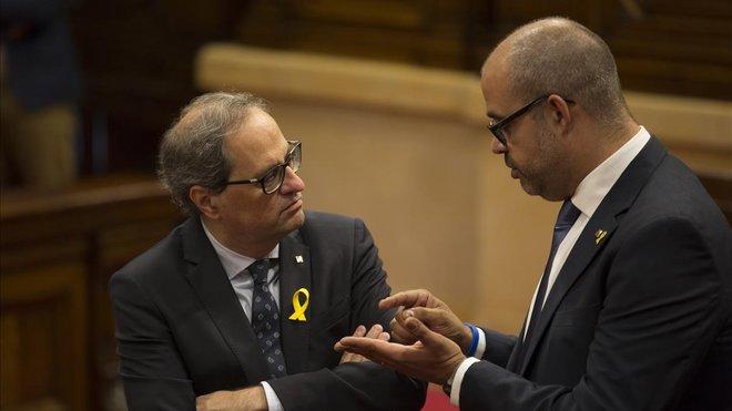 Quim Torra y Miquel Buch, en el Parlament, el pasado julio.
