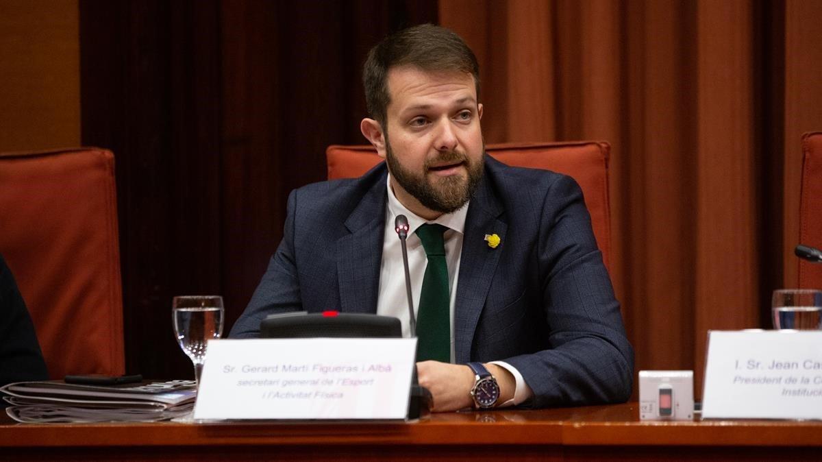 El secretario general de l'Esport, Gerard Figueras, en el Parlament, el pasado 4 de diciembre.