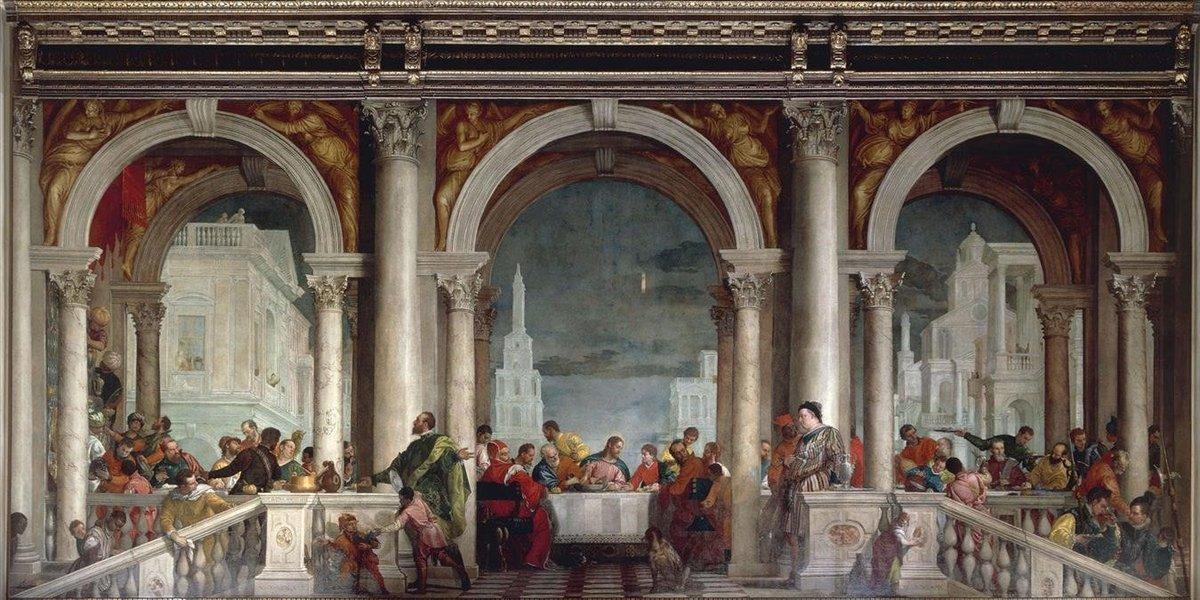 'La cena en casa de Leví', la obra de El Veronés expuesta actualmente en la galería de la Academia de Venecia.