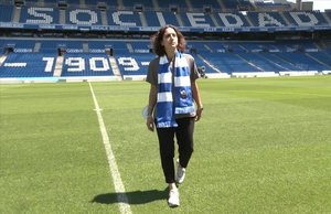 Natalia Arroyo, en su presentación como nueva entrenadora de la Real Sociedad.