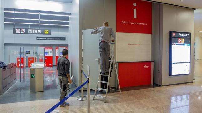 Últimos retoques antes de la inauguración de la estación de El Prat de la L-9 del metro.