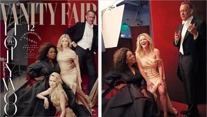 Las polémicas fotos de Vanity Fair: a la izquierda, las tres piernas de la actriz Reese Witherspoon y la única de Zendaya. Al lado, tres manos de Oprah Winfrey.