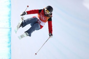 Elizabeth Swaney durante los JJOO de Pyeongchang