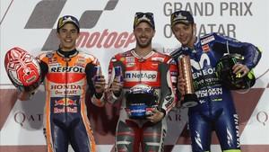 Márquez, Rossi y Dovi en el podio de MotoGP
