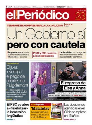 La portada d'EL PERIÓDICO del 23 de novembre del 2019