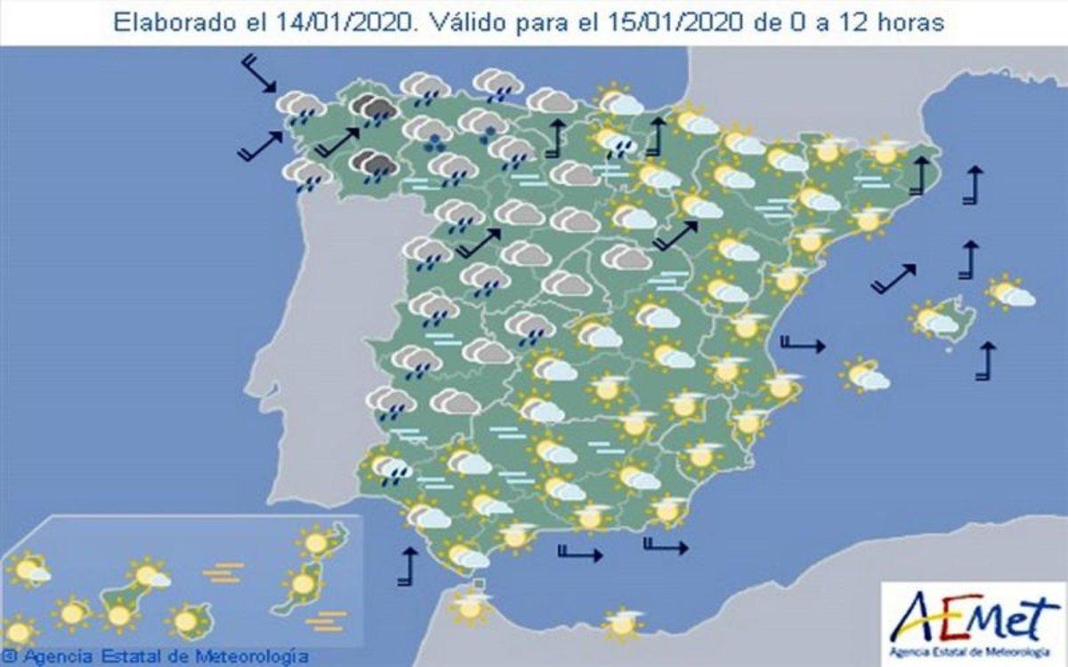 Pronóstico del tiempo en toda España.