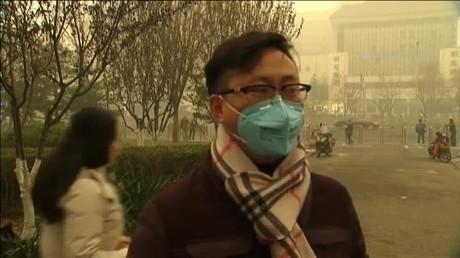 El estado de Pekíncon la neblina de contaminantes que ha obligado a emitir la alerta roja.