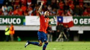 Arturo Vidal durante un amistoso entre Chile y Honduras en noviembre del 2018, en la ciudad chilena de Temuco.