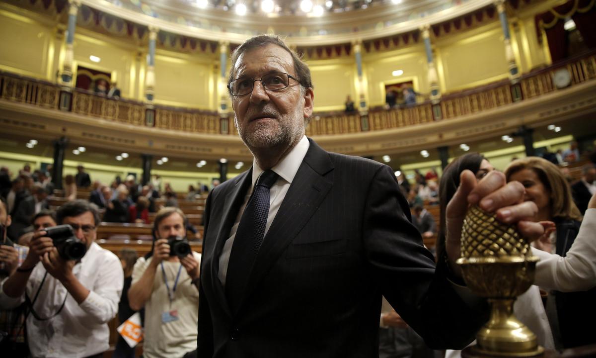 Mariano Rajoy, el jueves en el Congreso de los Diputados, tras perder la primera votación.