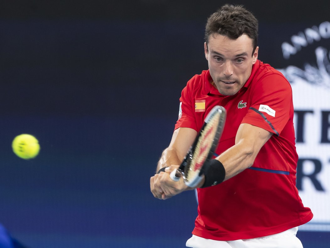 Sydney (Australia), 10/01/2020.- Roberto Bautista Agut of Spain in action against Kimmer Coppejans of Belgium during their quarter final match on day 8 of the ATP Cup tennis tournament at Ken Rosewall Arena in Sydney, New South Wales, Australia, 10 January 2020. (Tenis, Bélgica, España) EFE/EPA/CRAIG GOLDING AUSTRALIA AND NEW ZEALAND OUT