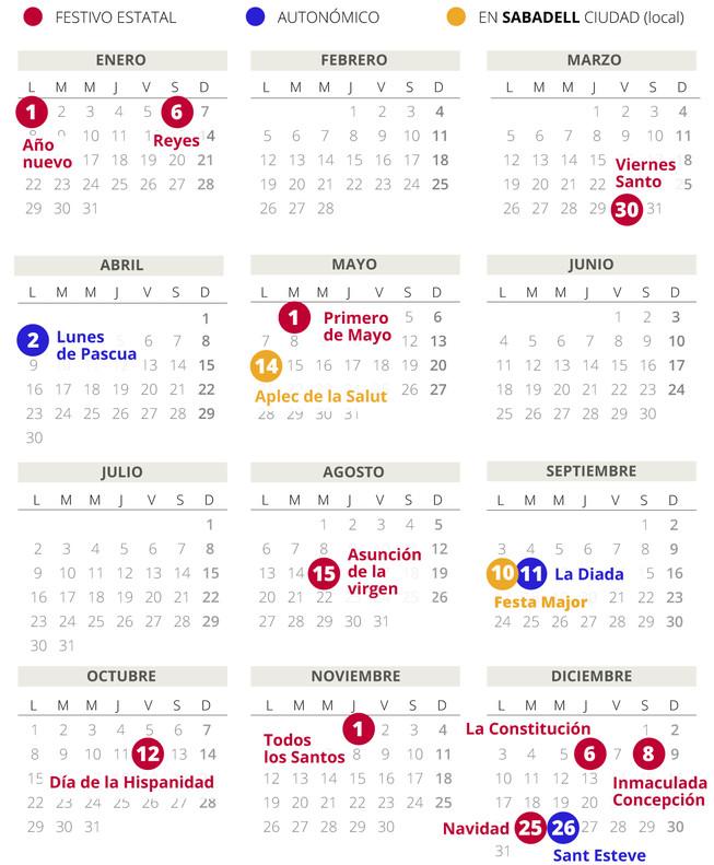 Calendario laboral de Sabadell del 2018.