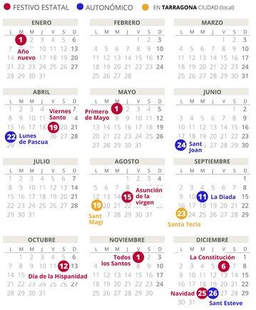 Calendario laboral de Tarragona del 2019.