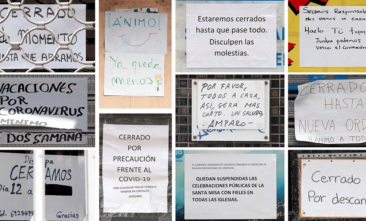 Carteles de negocios cerrados por el estado de alarma, en València.