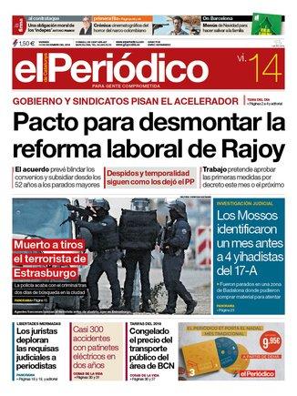 La portada de EL PERIÓDICO del 13 de diciembre del 2018